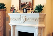 Cast Stone Fireplaces / Cast Stone Fireplaces, Full Floor-to-ceiling Mantels, Hearths, and Cast Stone Vent-A-Hoods.