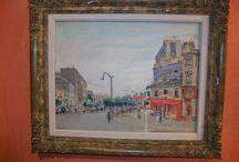 ST. DENIS PARIS / Veduta di St. Denis - Paris - Olio su compensato - anni 1940 circa. Misure cm. 44 x 34 - completo di cornice cm. 57 x 47. Opera del pittore PIERANGIOLO Basorini.