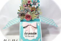 cArD in A BOx / POW!!! So glad I challenged myself to try this!  It is SO easy to make, and fold flat to mail, but when they are opened.....Oooo~LaLa, they explode into a box~oFUN!  / by Brenda Berry