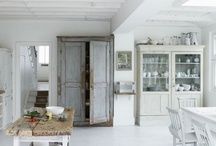 White modern rustic kitchens