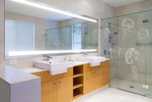 Luxury Bathroom / Frosted Shower Screen and Lighted Bathroom Mirror by Clearlight Designs.