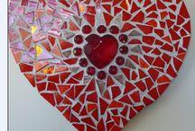 červená mozaika-srdce