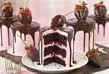 Strawberry ganache cakes