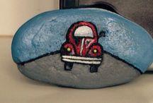 Painted stones # piatra pictata # masina