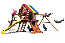 Playground Sets / The All-American Castles are a great value and pefect for smaller or uneven yards. All Rainbow Castle play sets include a Jacob's Rope Ladder and 360 Tire Swing and Rock Climbing Wall. Available with Rainbow or Green tarp, slide, and rocks. Choose between 2 position, 3 position or 4 position swing beam. Visit www.rainbowplay.com for more details or stop by our showroom.