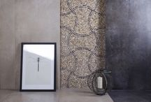 Exeter / Large size tiles (120x60) mixed with stone mosaic Puzzle Dark. Beautiful and elegant.