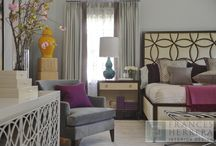 Classic Contemporary    / A classic, elegant master suite for the husband and wife, and a fun, sophisticated entertainment space for their family -- it was a dream project!  To turn the master suite into a luxury retreat for two young executives, we mixed rich textures with a playful, yet regal, color palette of purples, grays, yellows and ivories.   For fun, family gatherings, where both children and adults are encouraged to play, I envisioned a handsome billiard room and bar, inspired by the husband's favorite pub.