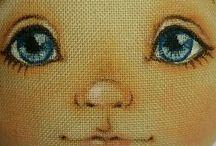 pintura de rosto de boneca de pano