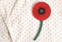 Crochet brooches, flowers etc.