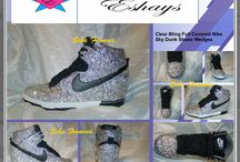 Popular Wedding Sneakers / Listed are rhinestone Nikes from Nike Blazers to Nike Air Force Ones to Nike Air Max 90s. most of which are designed by Eshays and you can make request for another designs listed. #nikeair #nikeforceones #air #nikeairmax #airmax90 #whiteribbon #ribbonlaces #nikeblazer #blazersb