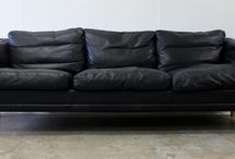 Mid Century Danish Leather Sofas / Mid Century Danish Leather Sofas at The Vintage Shop, Auckland, New Zealand