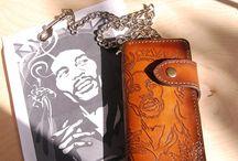 Long bikers wallet , veg tan leather , handpainted ,ladies /men wallet, brown leather Bob Marley