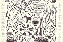 illustrazioni black and white mike giant