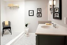 Bathroom Design 109 / Our traditional style black and white bathroom with a doorless shower.