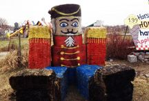Hay Bale Art Decorating / Sculptures created from various sized and shaped hay bales.