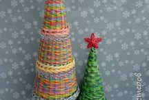 Papírfonás - karácsony: koszorúk, csillagok, harangok