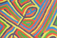 color compositions made of lines / visual art, acrylic paintings