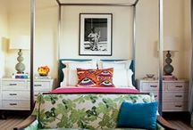 Bright Bedrooms / Boldly colored bedrooms with pops of corals, turquoise, green, yellow and other cheerful colors.