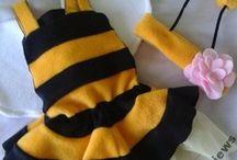 Pszczółka - przebranie na sesje dziecięcą / Strój pszczółki dostępny jest w dwóch wersjach - ze spódniczką lub z majteczkami i żądłem. Będzie trafionym przebraniem na bal przebierańców w przedszkolu. Szyty na zamówienie w dowolnym rozmiarze!