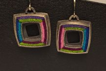 Etsy Shop / Oxidized sterling earrings set with wool felt. Handmade by Michele A Friedman, Chicago, IL USA
