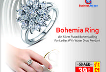 18K Silver Plated Bohemia Ring For Ladies With Water Drop Pendant CBR-03 / Buy all types of Fashion Rings at Jewelery | women fashion | BusinessArcade.com Uae. we offer branded and latest design fashion jewelry having best quality at a best price.