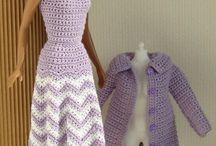 Crochet purple dress coat and hat