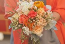 Bouquets - sunset colors / Soft pinks through to intense orange reds, peachy tones and hints of greys, yellows and golds