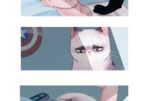 steve an bucky and cat and dog