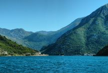 Bay of Kotor - Montenegro / Sea Gate. Bay of Kotor and the ferry boat in Kotor Bay (Lepetane-Kamenaria)