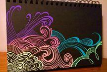 Drawings on black paper ❤️