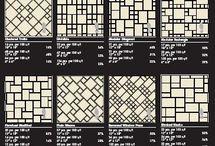 Идеи метлахских ковров / Метлахские ковры напоминают детскую игру – собери и раскрась! Это бесконечные варианты из композиций метлахской плитки разных форматов. Шестигранники, треугольники, восьмигранники, бордюры, полоски и квадраты – для создания ковра используются любые элементы.