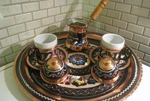 Turkish Coffee Maker Set / Turkish coffee maker set,copper handmade emproidery coffee serving set