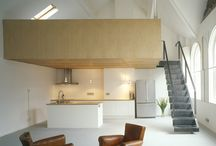 Bavaria Road / This project involved the installation of a mezzanine floor within a large double height studio flat. The existing building was a Baptist church and our client's flat sat on the second floor beneath a large, original timber trussed roof.  Architect: West Architecture -  Photography: Peter Cook & Steve Webb