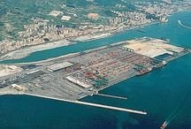 voltri container terminal genua / -largest container terminal of genua -waterfront -contrast container terminal to housing area arround