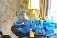 Opaline / My master bedroom & my collection of gorgeous blue opaline!!!  I am in love with this color of blue!!!