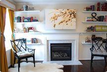 shelves fireplace