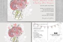 Gray and pink wedding colors / Gray and pink wedding color theme mason jar