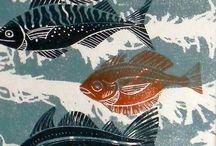 lino prints animals
