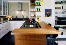 Black counters, white cabinets