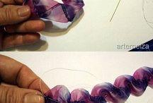 Flores realizadas con lazos ,cintas y tela en general