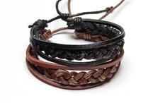 Leather Bracelets  / Beaded Leather Bracelets