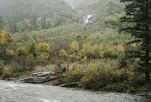 lake river & waterfall