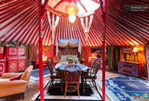Inside Yurts / Yurts are beautiful on the outside but are also a work of art on the inside. Painted by hands, they are like nothing you've seen before