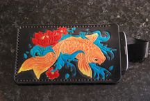 koi fish, leather phone sleeve, custom. black leather , personalized, handcrafted