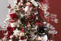 Christmas Trees - Snowman Accents