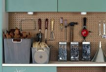 GARAGE /  #garage #tools #organize #workbench #workshop #pegboard #bikerack #diy #man #husband  / by M B