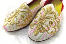Francis / I made these shoes for Easter. Kind of like the candy colors on the white suede and adore the gilt trim.