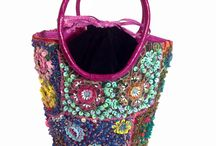 "Weekend Getaway handbags / Make a ""​W​eekend ​G​etaway"" with ​our​ one-of-a kind Weekend Getaway Handbag in magenta, blue and teal! Made from sustainable snake skin and fabric​, ​ this bucket bag will​ hold all of your essentials for a fantastic weekend!​    Dimensions (from handles) 40""L x (top) 14.5""W x (base) 8""D. Weight lb  ​Draw string closer"
