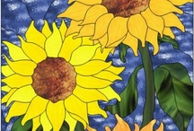 Sunflowers / Stained and fused glass sunflowers or designs.