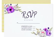 Bright Spring Wedding watercolor wildflowers suite / Spring Wedding suite featuring a bright palette with banana, dark ivy, purple macaron and a vibrant yellow.